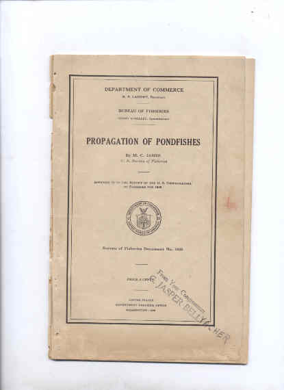 Image for PROPAGATION OF PONDFISHES  (Bureau of Fisheries #1036