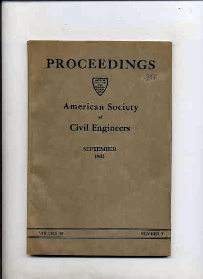 Image for PROCEEDINGS OF THE AMERICAN SOCIETY OF CIVIL ENGINEERS SEPTEMBER 1932