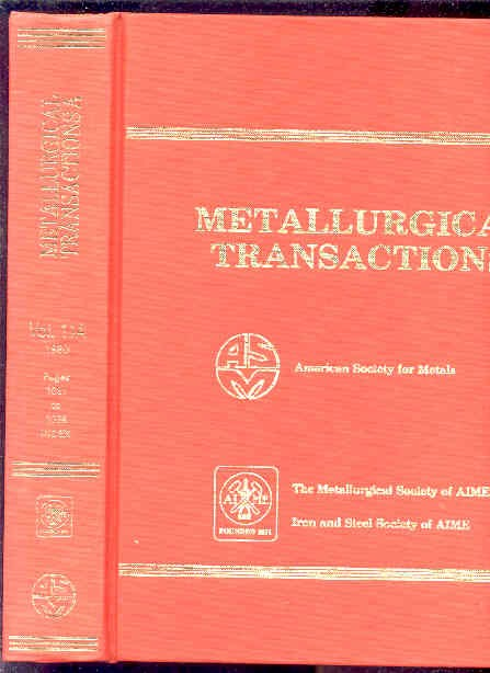 Image for METALLURGICAL TRANSACTIONS VOLUME 11A  (1 Vol, Pp1081 to 2038, Index)