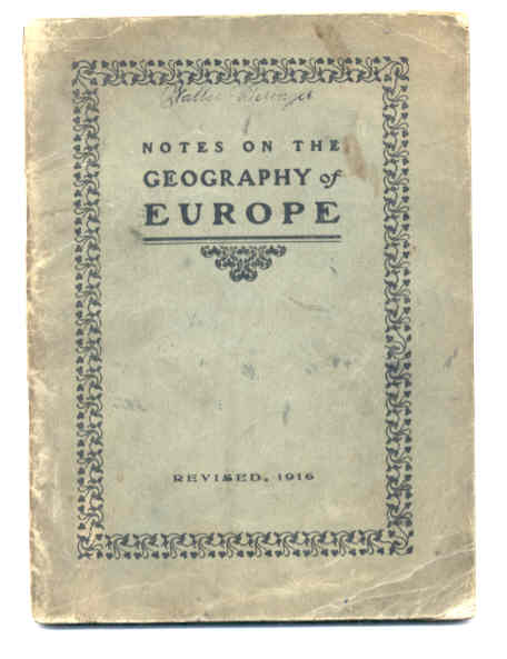 Image for NOTES ON THE GEOGRAPHY OF EUROPE Revised