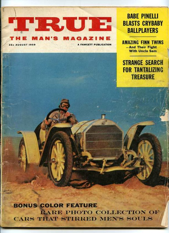 Image for TRUE THE MAN'S MAGAZINE AUGUST 1959 Bonus Color Feature, Rare Photo Collection of Cars That Stirred Men's Souls