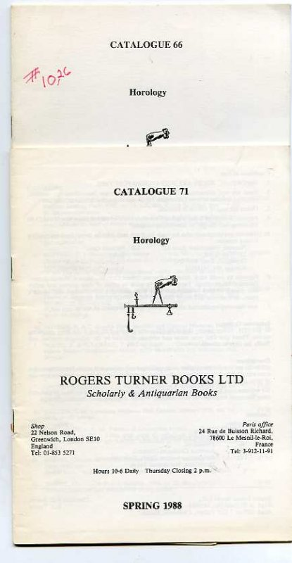 Image for HOROLOGY Catalogue 66, Spring 1987: 71, Spring 1988; spring 1990 3 catalogs