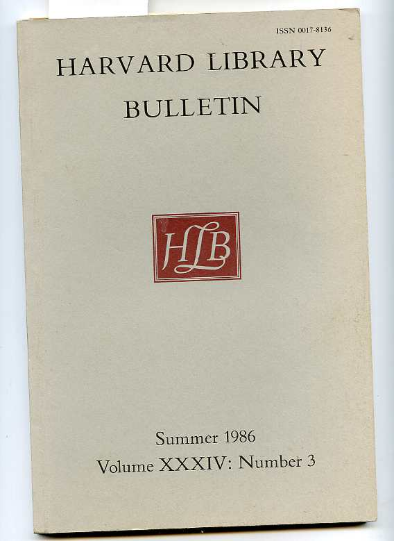 Image for HARVARD LIBRARY BULLETIN, SUMMER 1986, VOLUME XXXIV, NO. 3