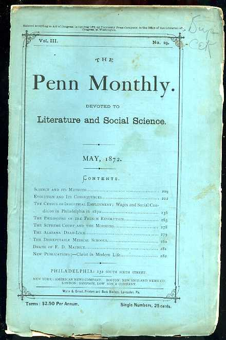 Image for THE PENN MONTHLY NUMBER VOL III NO 29 1872 Devoted to the Literary, Scientific, and Soical Interests of Teh Commonwealth and Teh Nation