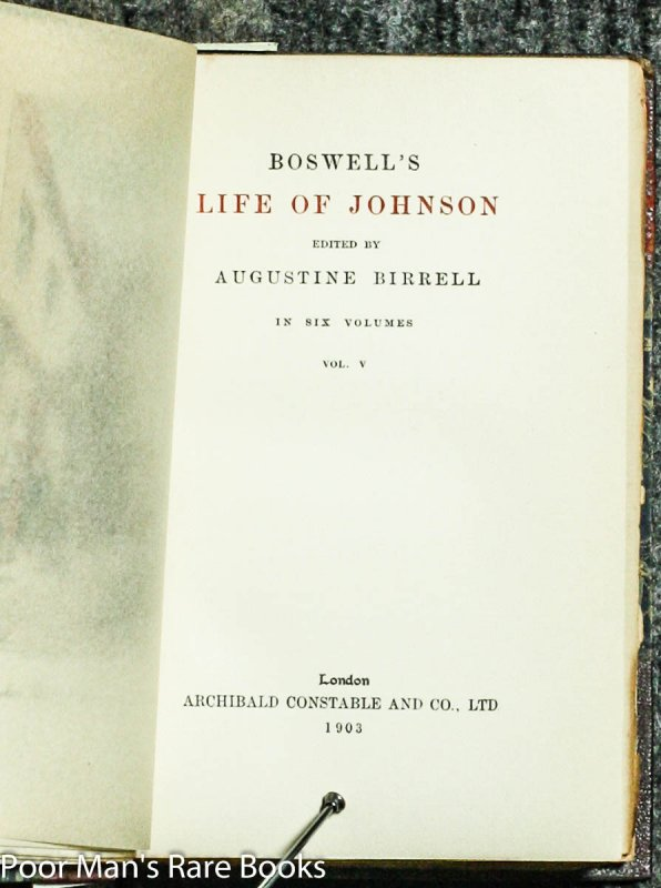 Image for BOSWELL'S LIFE OF JOHNSON AND JOURNAL OF A TOUR TO THE HEBRIDES  (Complete in 8 Volumes)