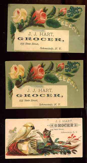 Image for 3 ANTIQUE J J HART GROCER ILLUSTRATED CHROMO ADVERTISING CARDS CIRCA 1880