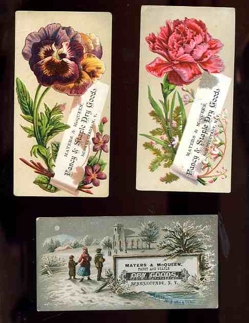 Image for 3 ANTIQUE MAYERS AND MC QUEEN ADVERTISING CARDS 1880'S