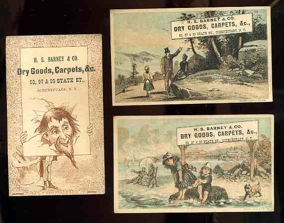 Image for 3 ANTIQUE ADVERTISING CARDS 1880'S DRY GOODS AND CARPETS, A S BARNEY