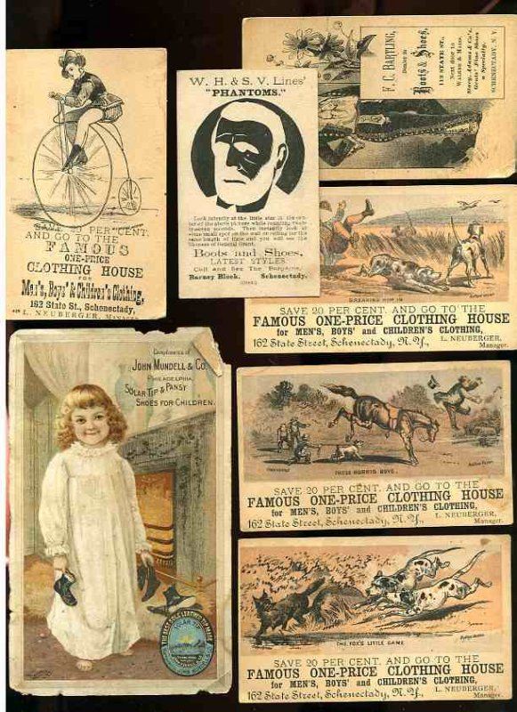 Image for 7 ANTIQUE ADVERTISING CARDS 1880'S CLOTHING, BOOTS AND SHOES