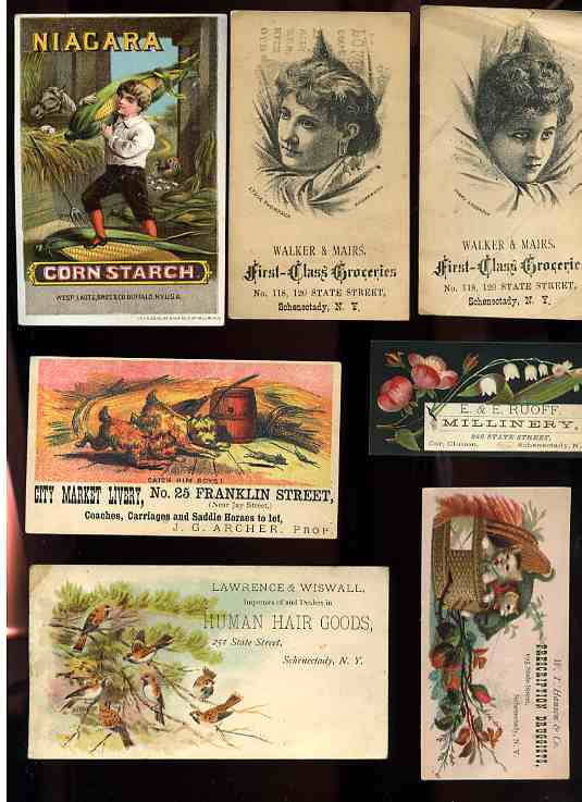 Image for 7 ANTIQUE ADVERTISING CARDS 1880'S LIVERY, DRUGGISTS, MILLINERY, HUMAN HAIR GOODS, NIAGARA CORN STRACH, GROCERIES