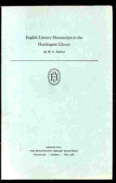Image for ENGLISH LITERARY MANUSCRIPTS IN THE HUNTINGTON LIBRARY Vol XXXI Number 3 May 1968