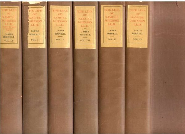 Image for THE LIFE OF SAMUEL JOHNSON: BOSWELL'S LIFE OF DR JOHNSON AND JOURNAL OF A TOUR OF THE HEBRIDES IN TEN VOLUMES WITH A BIBLIOGRAPHICAL INTRODUCTION BY CLEMENT SHORTER (TEMPLE BAR EDITION COMPLETE IN 10 VOLUMES) LIMITED EDITION 564/785