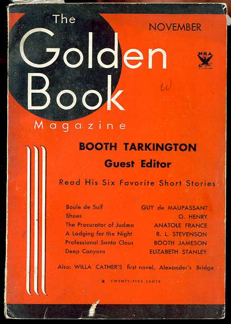 Image for THE GOLDEN BOOK MAGAZINE, VOL XVIII, NO 107, NOVEMBER 1933 SIX SHORT STORRIES; DE MAUPASSANT, O HENRY ANATOLE FRANCE, R L STEVENSON, JAMESON, STANLEY.