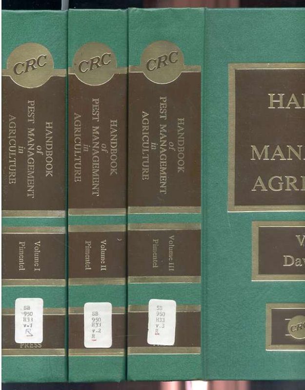 Image for HANDBOOK OF PEST MANAGEMENT IN AGRICULTURE  (Complete in Three Volumes)