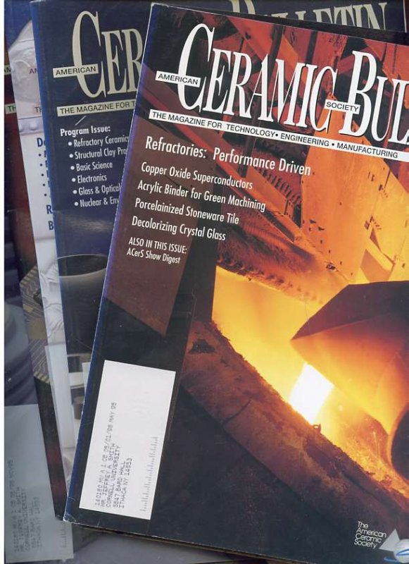 Image for AMERICAN CERAMIC SOCIETY BULLETIN THE MAGAZINE FOR TECHNOLOGY, ENGINEERING, MANUFACTURING Vol 74, Nos 5-12 (8 Magazines)