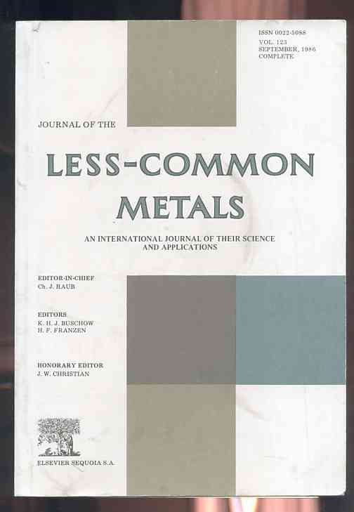 Image for JOURNAL OF THE LESS-COMMON METALS, VOL. 123, SEPTEMBER 1986 COMPLETE