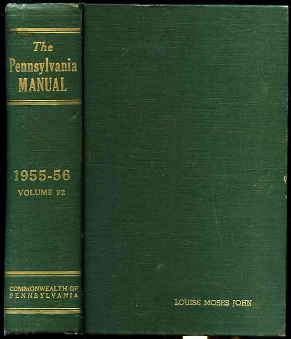 Image for THE PENNSYLVANIA MANUAL Volume 92 1955-56