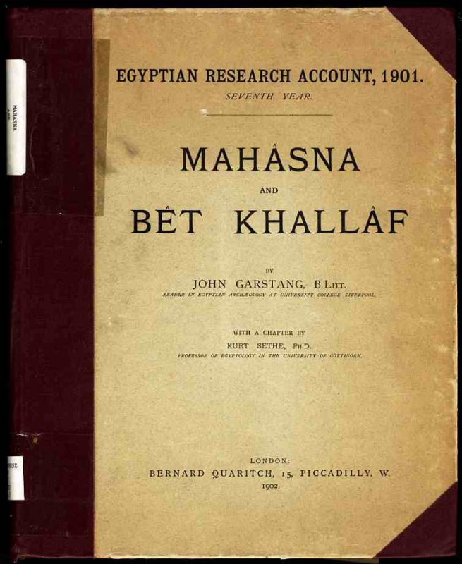Image for MAHÂSNA AND BET KHALLÂF. WITH A CHAPTER BY KURT SETHE.  (Egypt)