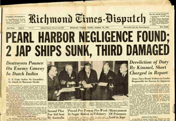 Image for RICHMOND NEWS DISPATCH SUNDAY JANUARY 25, 1942 [Lbc]pearl Harbor Negligence Found; 2 Jap Ships Sunk, Third Damaged.