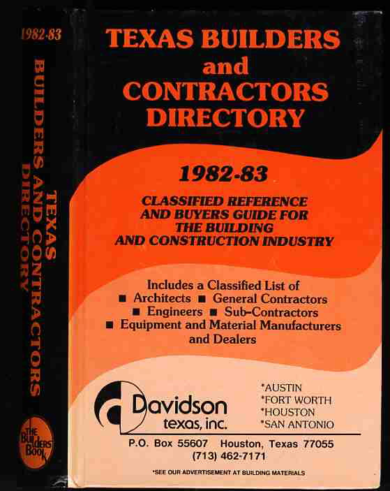 Image for TEXAS BUILDERS AND CONTRACTORS DIRECTORY 1982-83