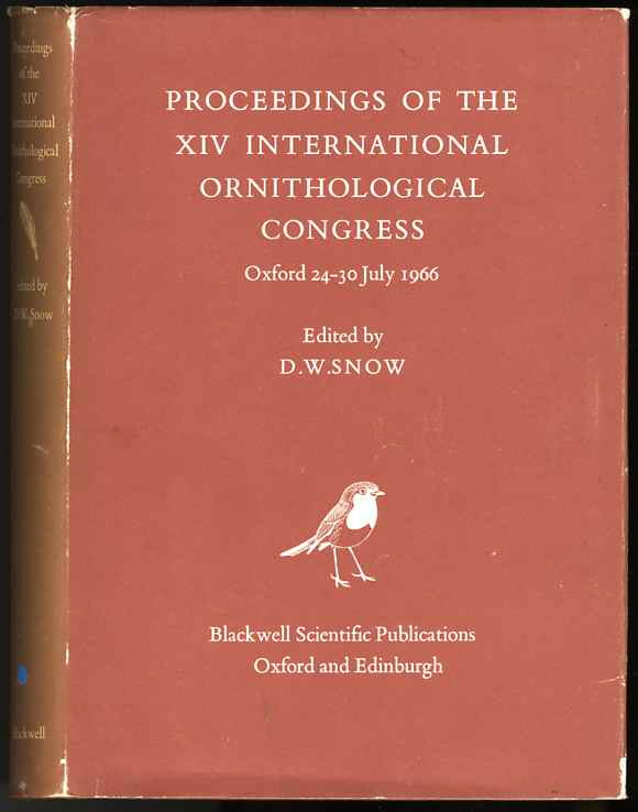 Image for PROCEEDINGS OF THE XIV INTERNATIONAL ORNITHOLOGICAL CONGRESS,OXFORD 24-30 JULY 1966