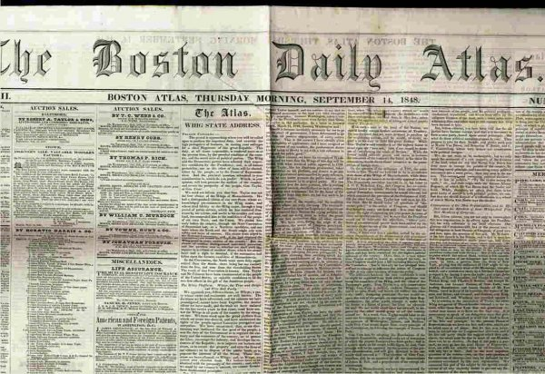 Image for BOSTON DAILY ATLAS (NEWSPAPER) VOL XVII NO 64 Thursday Morning September 14, 1848