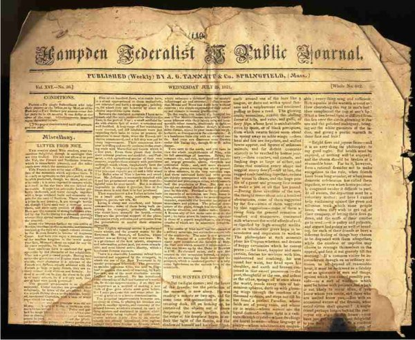 Image for HAMPDEN FEDERALIST & PUBLIC JOURNAL. (NEWSPAPER) VOL XVI NO 30 WHOLE NO. 812 July 25 1821