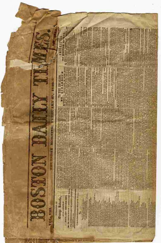 Image for BOSTON DAILY TIMES (NEWSPAPER) FEB 27 1840 Vol VIII No. 1442