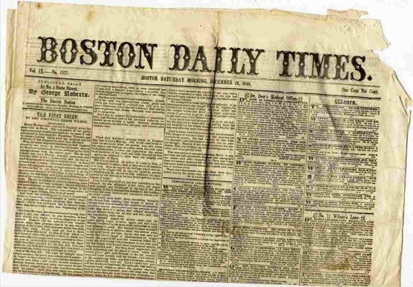 Image for BOSTON DAILY TIMES (NEWSPAPER) DEC 12 1840 Vol IX No. 1377