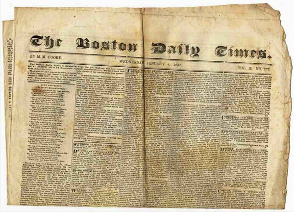 Image for THE BOSTON DAILY NEWS (NEWSPAPER) JANUARY 4 1837 Vol II No. 277