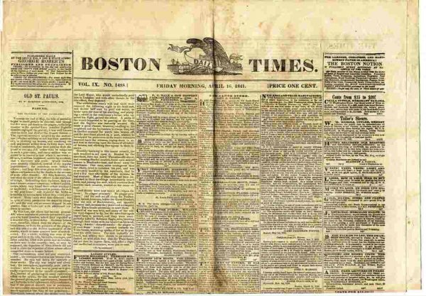 Image for BOSTON TIMES (NEWSPAPER) APRIL 16 1841 Vol IX No. 1488