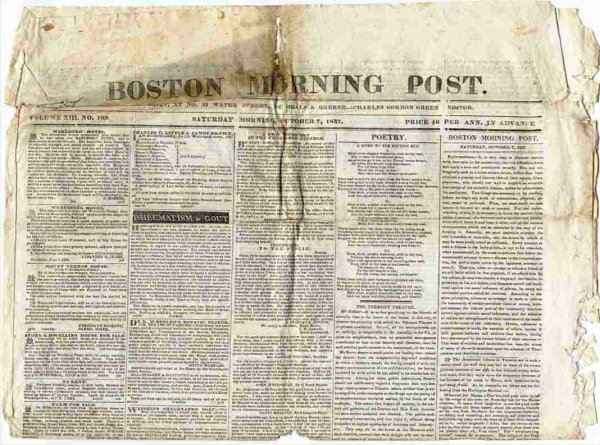 Image for BOSTON MORNING POST (NEWSPAPER) OCTOBER 7, 1837 Vol XIII No 109
