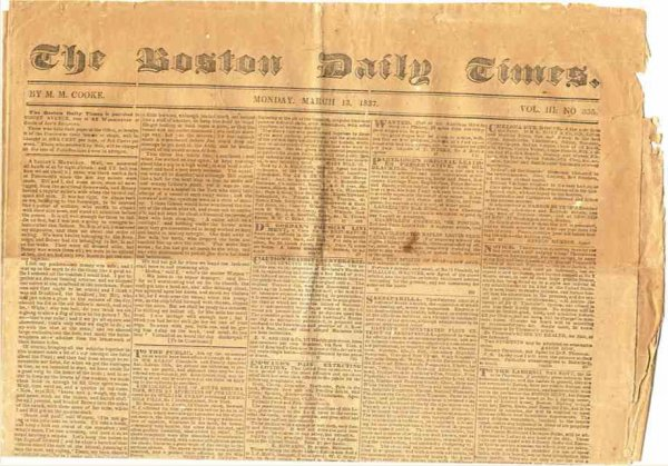 Image for BOSTON DAILY TIMES (NEWSPAPER) MARCH 13 1837 Vol III No. 336