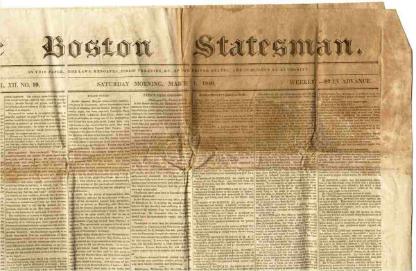 Image for BOSTON STATESMAN (NEWSPAPER) MARCH 7 1840 New Series Vol XII No 10