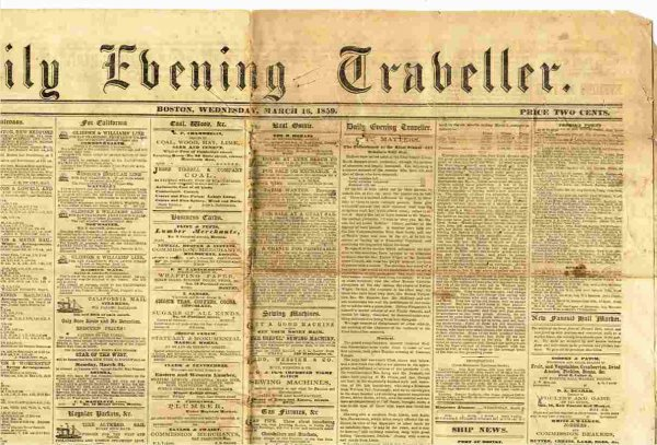 Image for DAILY EVENING TRAVELER (BOSTON NEWSPAPER) MARCH 18 1859 Vol XIV No. 295