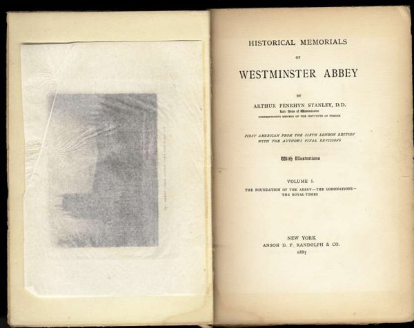 Image for HISTORICAL MEMORIALS OF WESTMINSTER ABBEY  (Vol I Only of 3 Vol Set) #479/600 Large Paper Edition