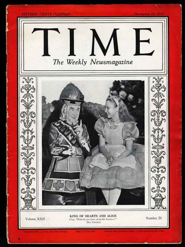 Image for (ALICE IN WONDERLAND CINEMA COVER) TIME, THE WEEKLY NEWSMAGAZINE VOLUME XX, NUMBER 26