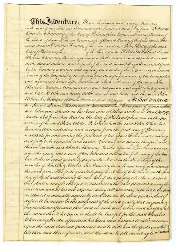 Image for 10 YEAR LEASE TO JOHN WHITE IN MANUSCRIPT, PHILADELPHIA, PA 1844