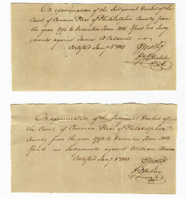Image for TWO LEGAL NOTES SIGNED 1803 PHILADELPHIA PA