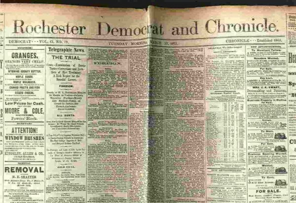 Image for ROCHESTER DEMOCRAT AND CHRONICLE NEWSPAPER MARCH 23 1875 VOL 43 NO 70