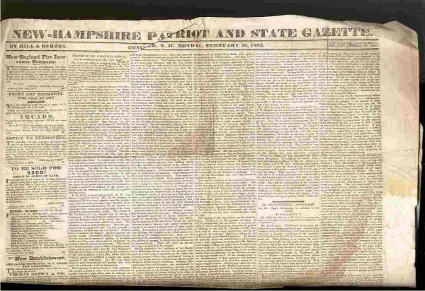 Image for NEW HAMPSHIRE PATRIOT AND STATE GAZETTE NEWSPAPER FEB 20, 1832 VOL 3, NO 138 NEW SERIES