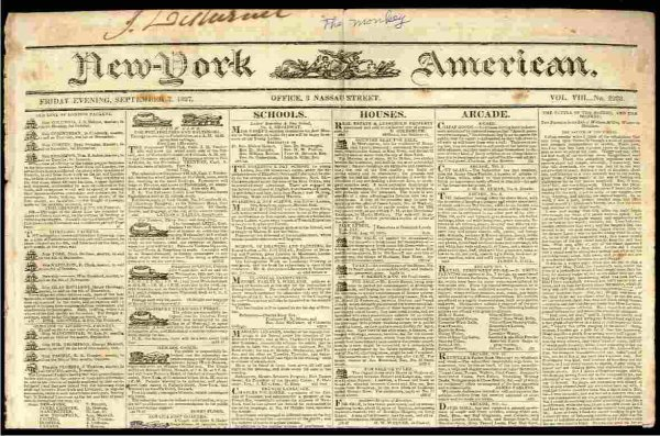 Image for NEW YORK AMERICAN NEWSPAPER SEPTEMBER 7 1827, VOL VIII NO 2288