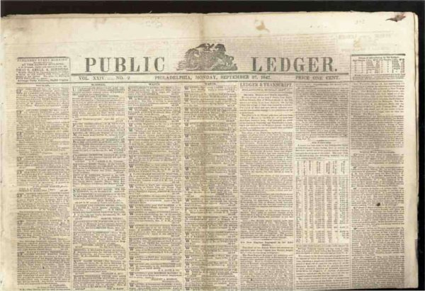 Image for PUBLIC LEDGER NEWSPAPER, PHILADELPHIA, SEPTEMBER 27 1847, VOL XXIV NUMBER 2  (Mexican American War)