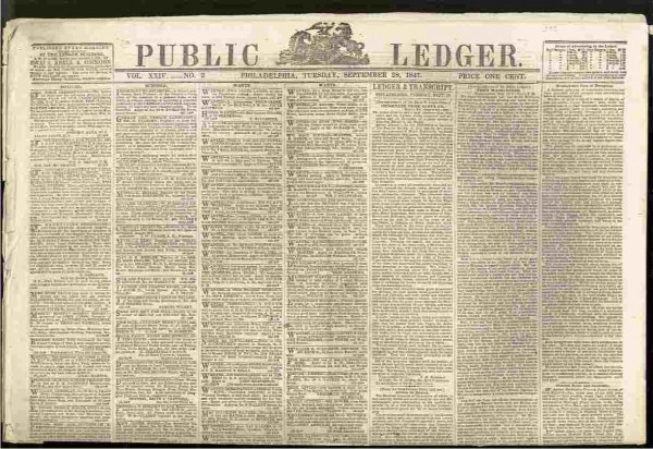 Image for PUBLIC LEDGER NEWSPAPER, PHILADELPHIA, SEPTEMBER 28 1847, VOL XXIV NUMBER 3  (Mexican American War)