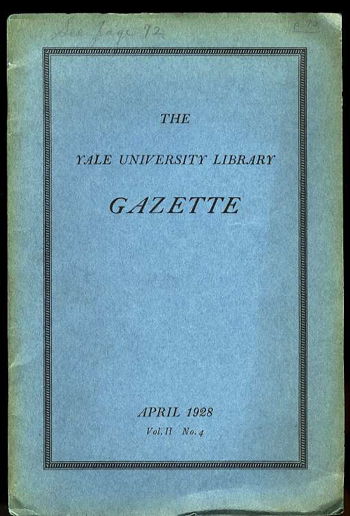 Image for THE YALE UNIVERSITY LIBRARY GAZETTE VOL II NO. 4