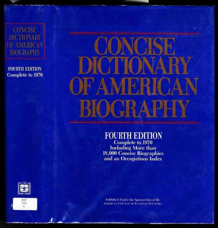 Image for CONCISE DICTIONARY OF AMERICAN BIOGRAPHY FOURTH EDITION