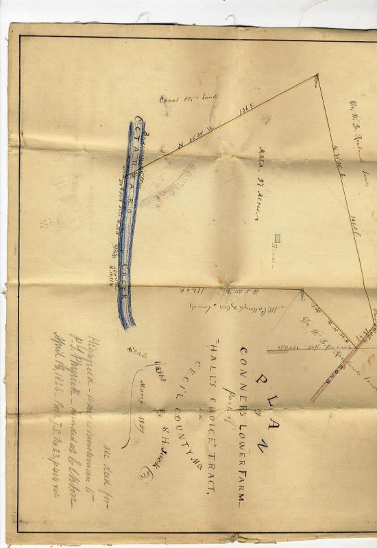 Image for PLAN OF CONNOR'S LOWER FARM, PART OF HALL'S CHOICE TRACT MARCH 1959 ON CLOTH, CECIL COUNTY MARYLAND