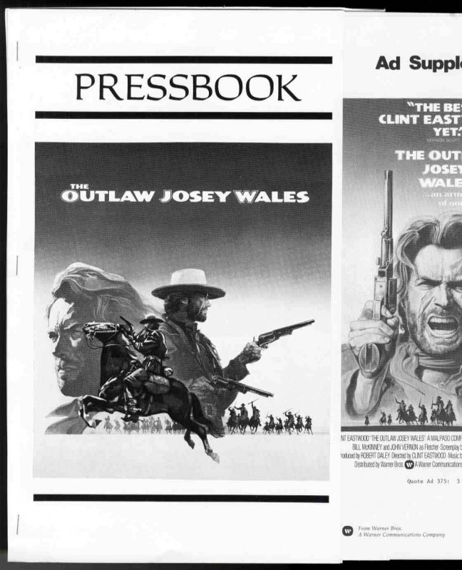 Image for PRESSBOOK; THE OUTLAW JOSEY WALES [lbc]
