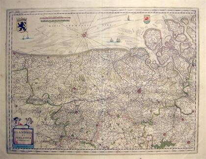 "Image for ENGRAVED MAP WITH OUTLINE COLOR. BLEAU, WILLEM J. ""FLANDRIA ET ZEELANDIA COMITATUS."" (AMSTERDAM) , CA. 1635 [LBC]"
