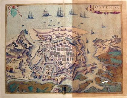 "Image for Colored Engraved Town Plan. ""Ostenda."" [osted], [ca. 1572-1618 [LBC]"